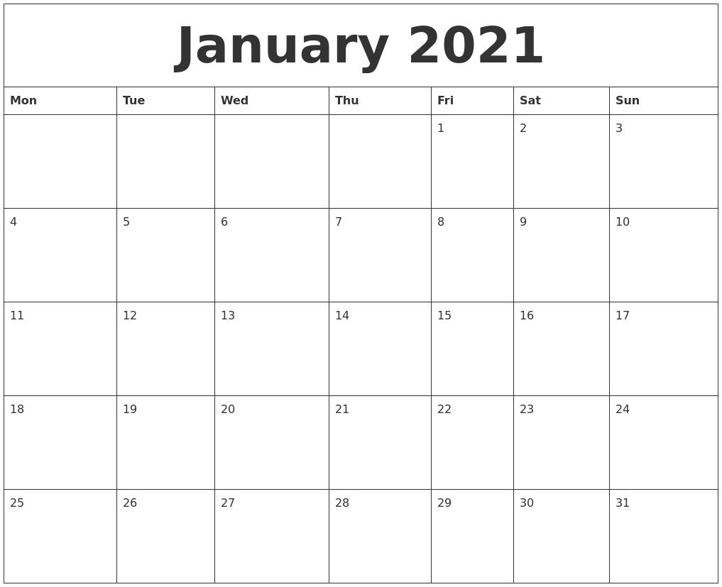 January 2021 Free Online Calendar  Free Online Calendars 2021 Printable