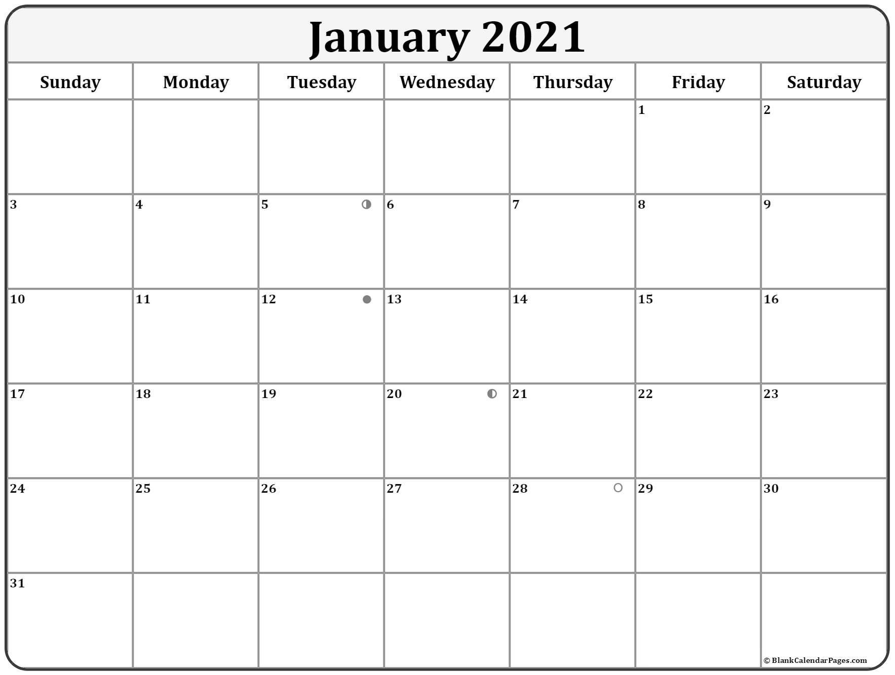 January 2021 Lunar Calendar | Moon Phase Calendar  Printable Lunar Calendar 2021