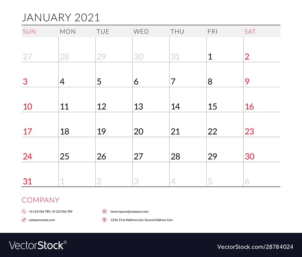 January 2021 Monthly Calendar Planner Printable Vector Image  Monthly Calendar 2021