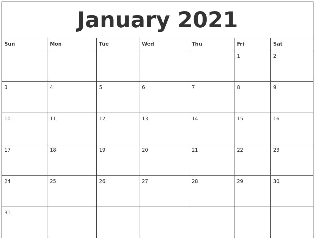 January 2021 Printable Calendar Free  2021 Free Calendar Printable