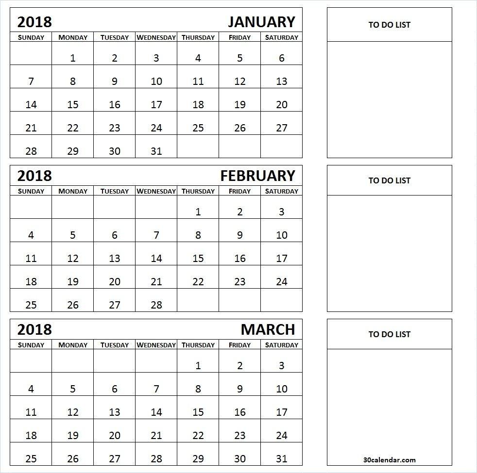 January February March 3 Month 2018 Calendar Template  3 Month Summer Calendar
