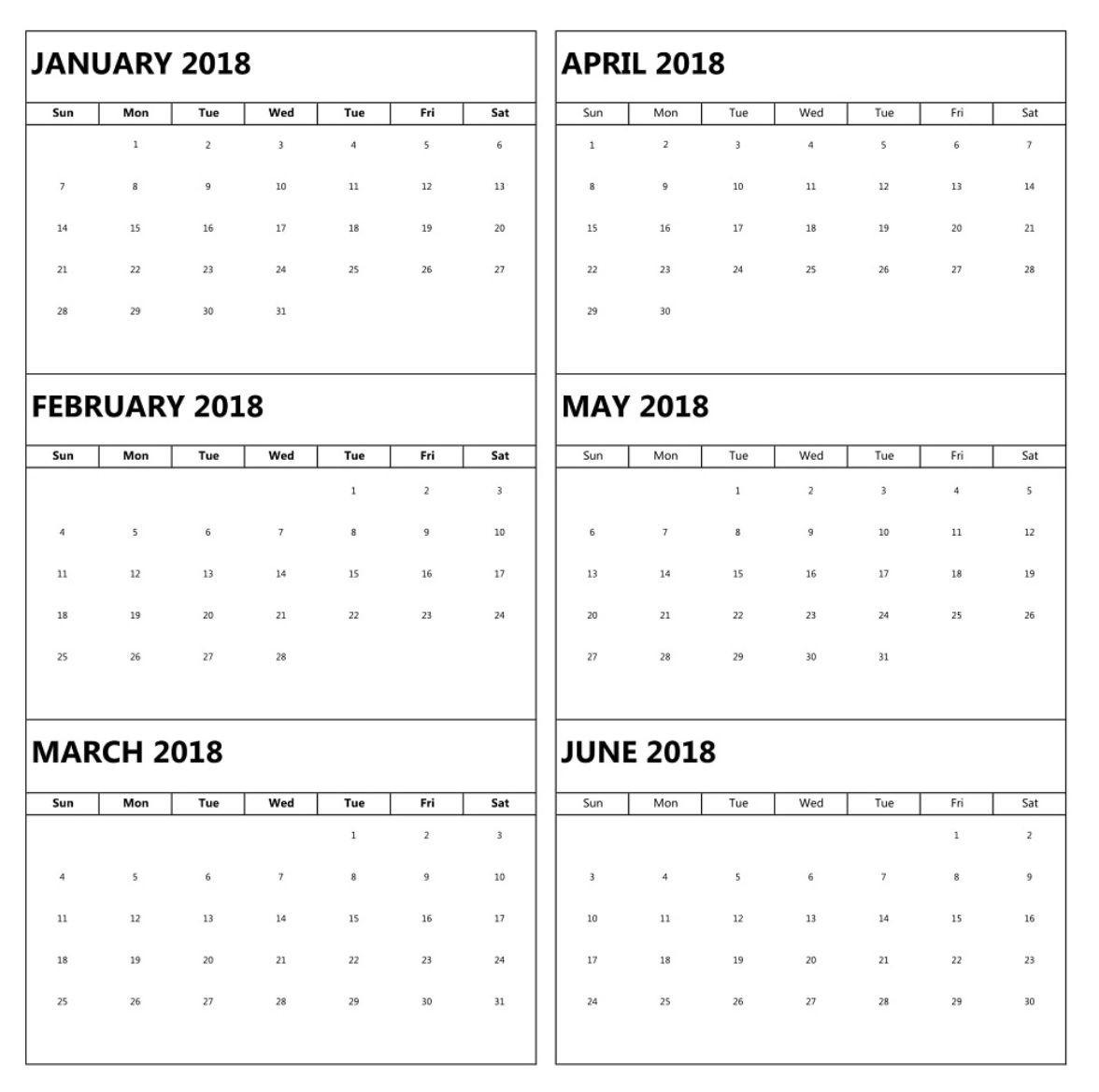 January To June 6 Months Calendar 2018 | Blank Calendar  Calender 6 Months
