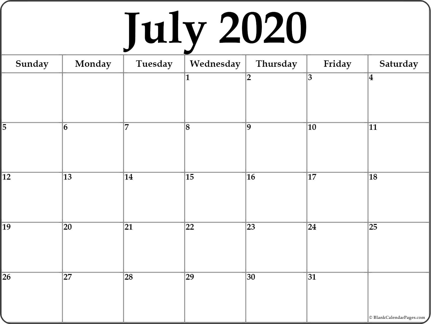 July 2020 Calendar | Free Printable Monthly Calendars  Calendar Month To Month Print
