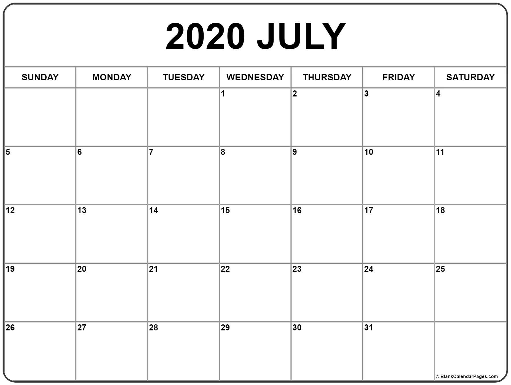 July 2020 Calendar | Free Printable Monthly Calendars  Full Page Calendar Print Out
