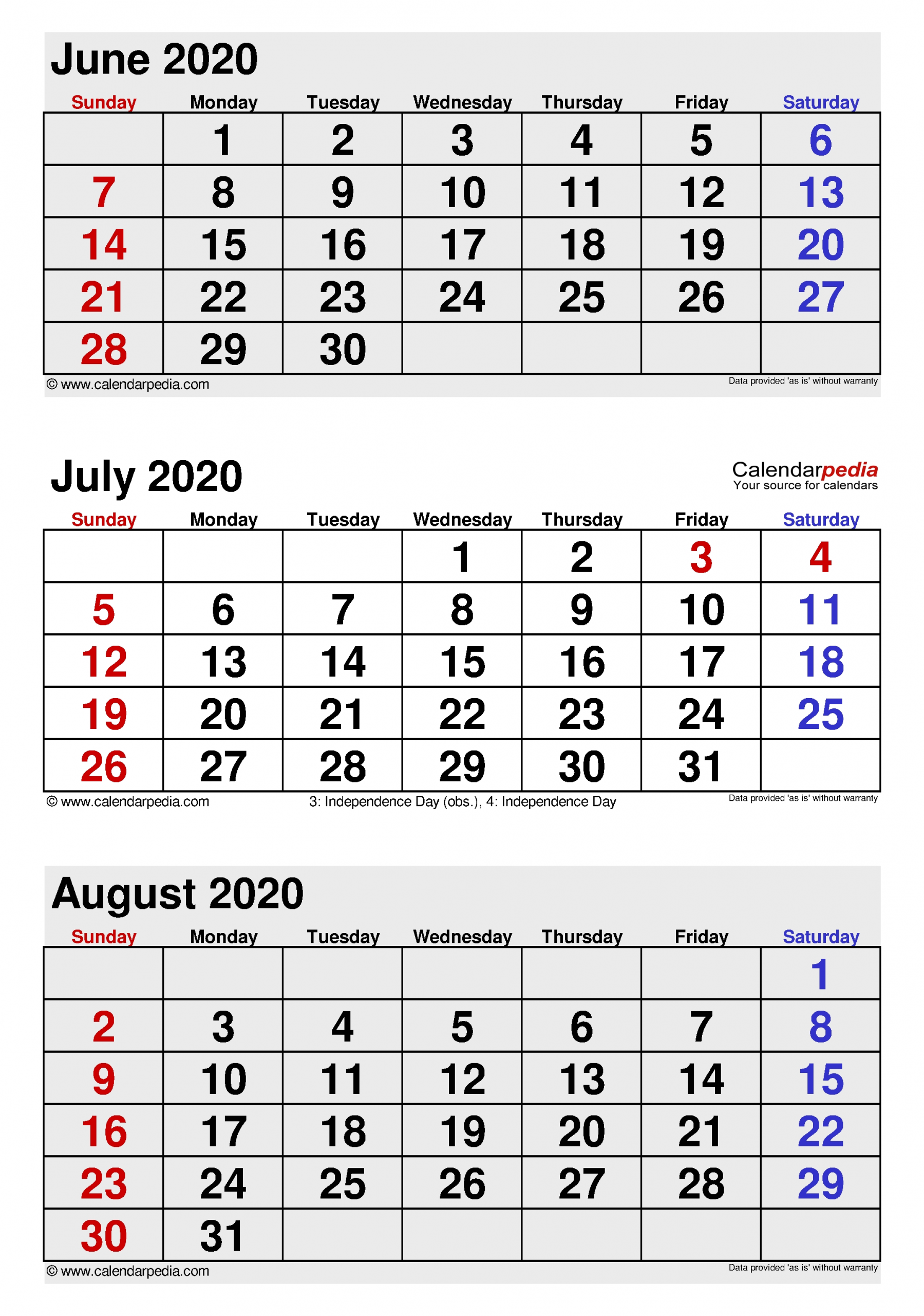 July 2020 Calendar | Templates For Word, Excel And Pdf  3 Month Summer Calendar
