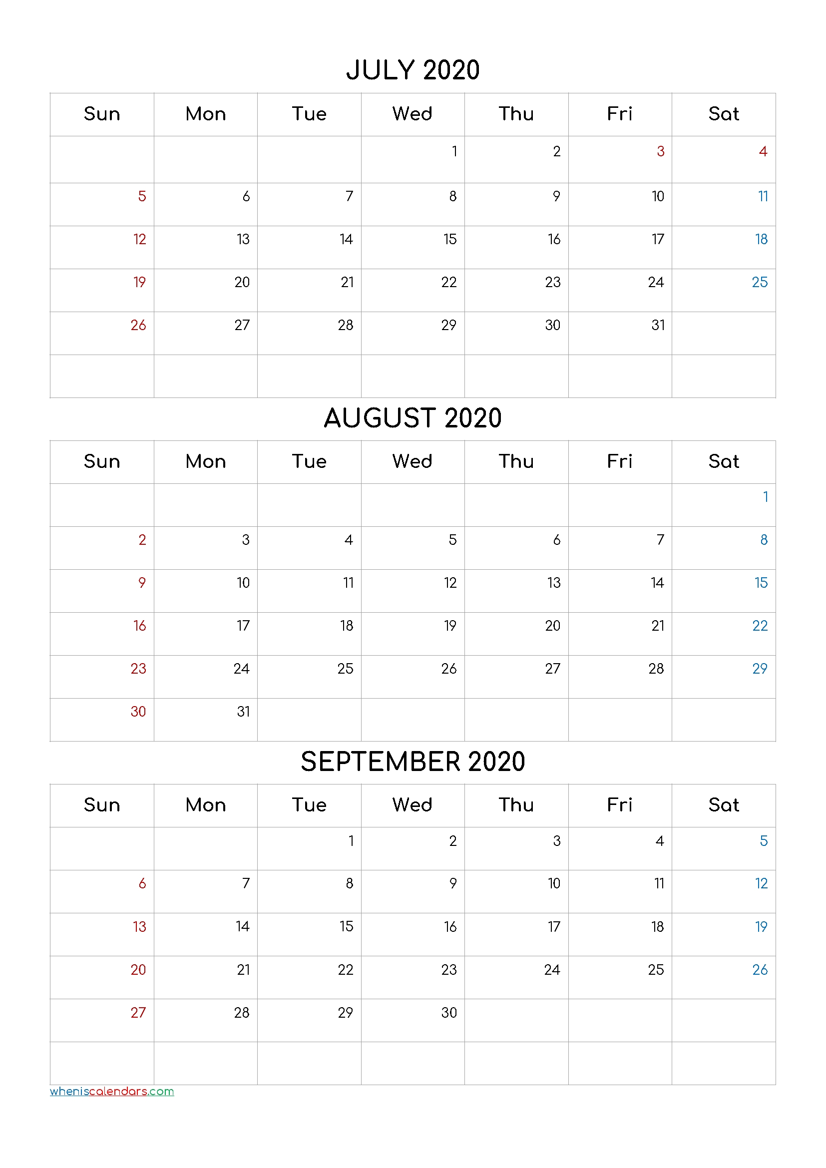July August September 2021 Three Month Calendar Printable  Free Triple Month Calendars 2021