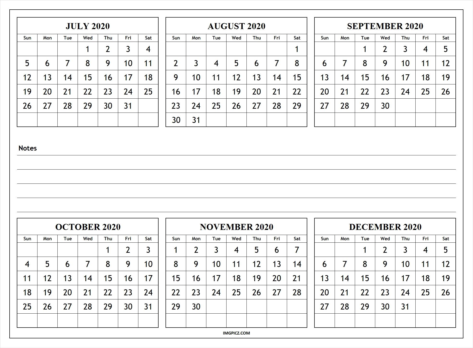 July To December 2020 Calendar Template | 6 Months 2020 Calendar  Calender 6 Months