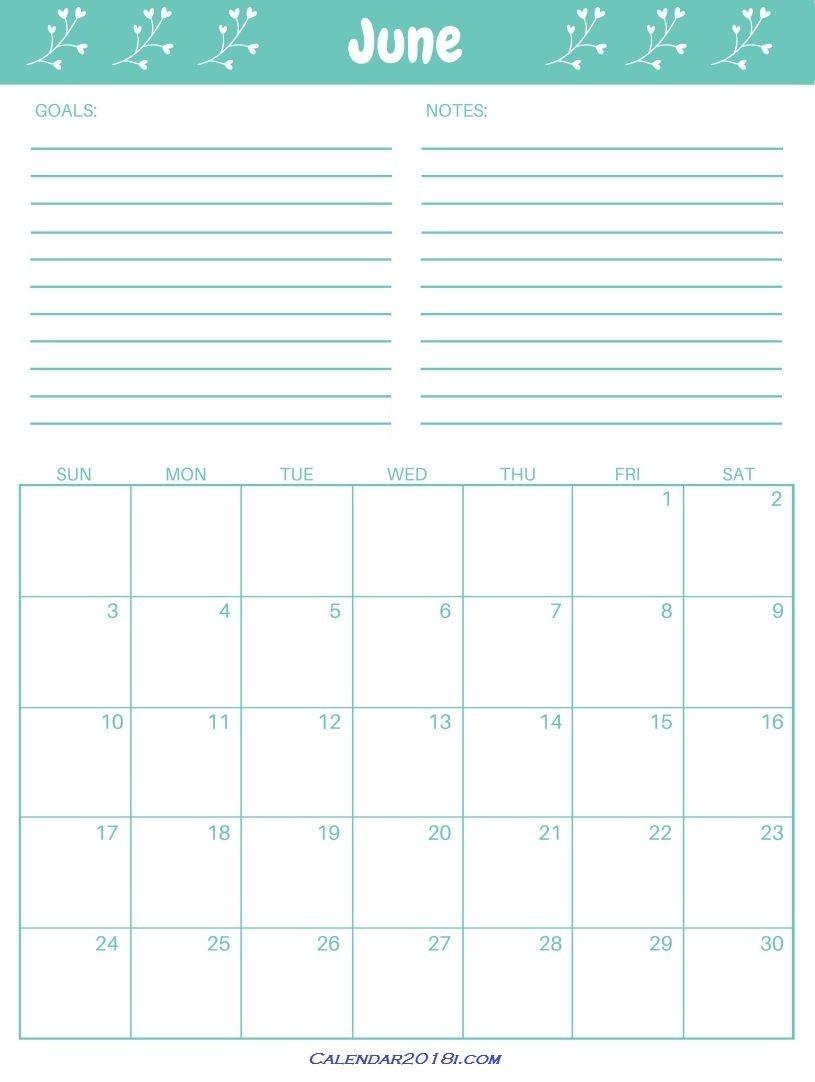 June 2018 Cyan Calendar Template | Editable Calendar  Perpetual Monthly Planner June