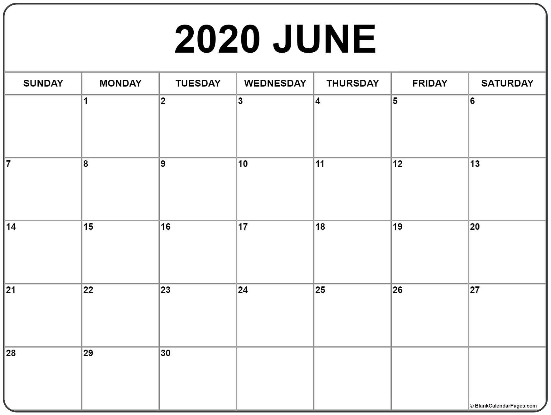 June 2020 Calendar | Free Printable Monthly Calendars  Full Size Printable Monthly Calendars
