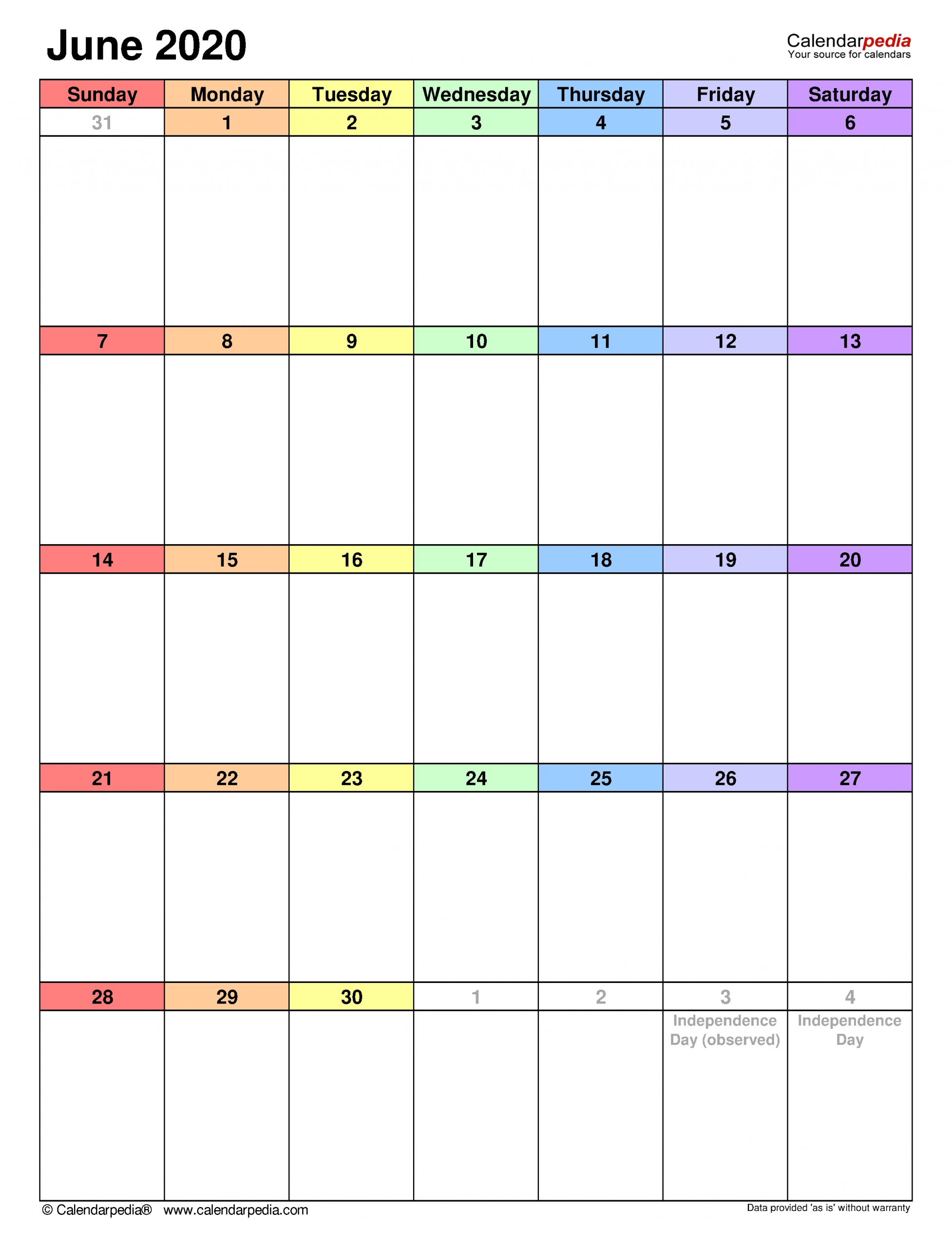 June 2020 Calendar | Templates For Word, Excel And Pdf  Perpetual Monthly Planner June