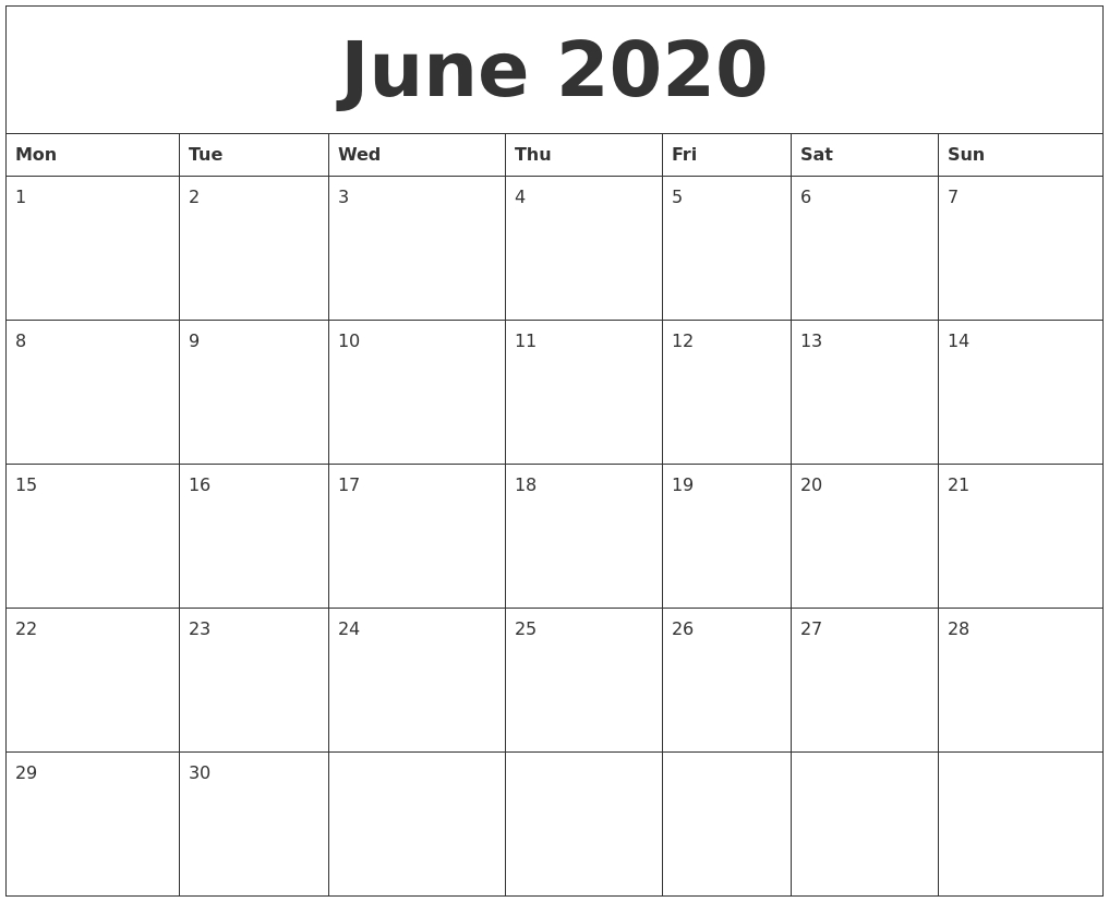 June 2020 Large Printable Calendar  Blank June Calendar 2020