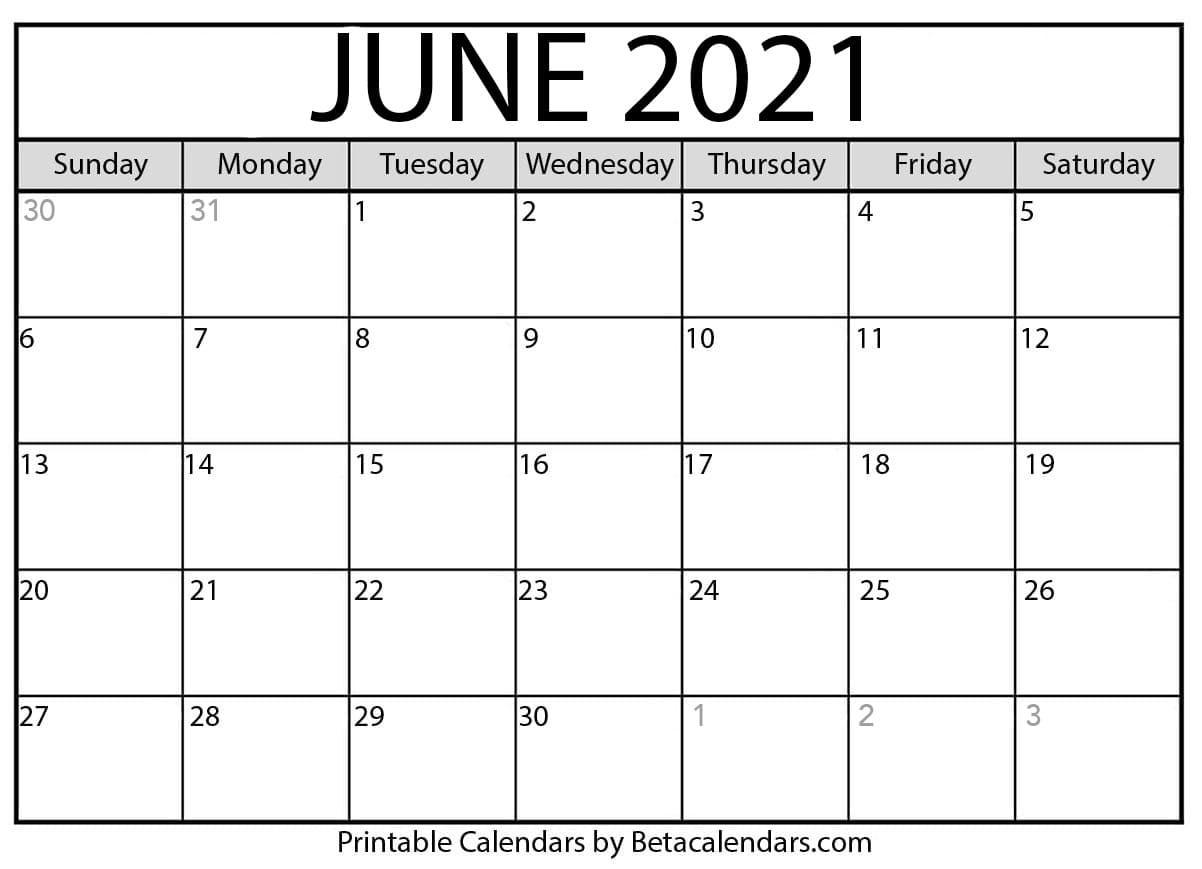 June 2021 Calendar | Blank Printable Monthly Calendars  Summer Months 2021 Calendar