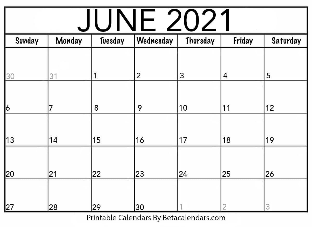 June 2021 Calendar | Blank Printable Monthly Calendars  United Methodist Calendar Of Special Sundays 2021