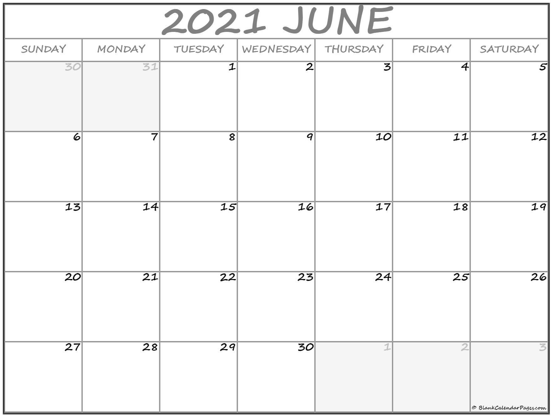 June 2021 Calendar | Free Printable Monthly Calendars  Monthly Calendar 2021