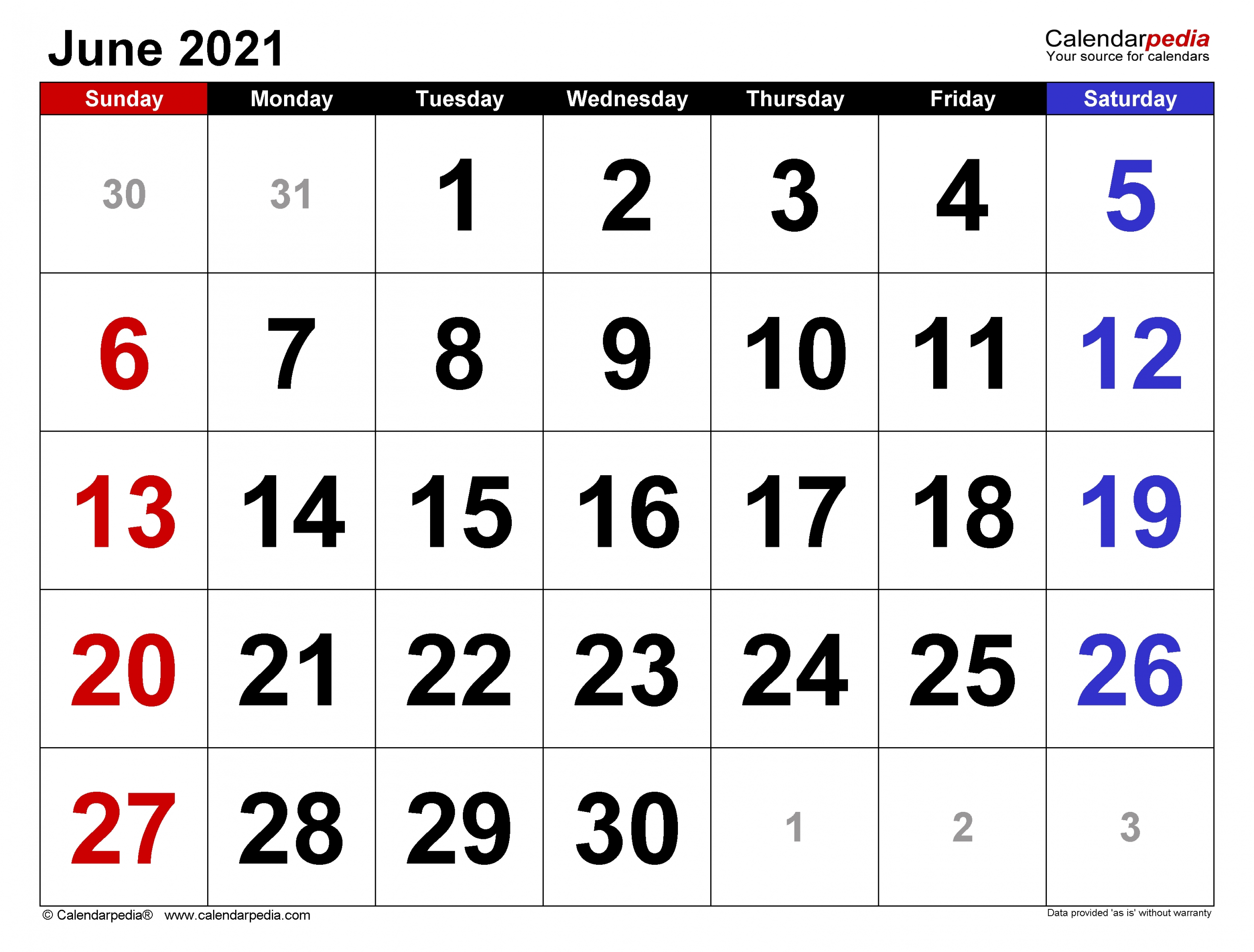 June 2021 Calendar | Templates For Word, Excel And Pdf  Monthly Payment Sheet June, 2021
