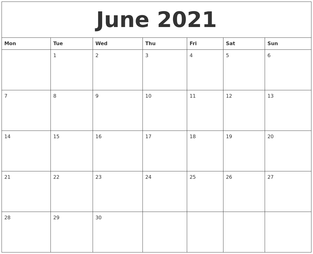 June 2021 Free Printable Calendar Templates  Monthly Payment Sheet June, 2021