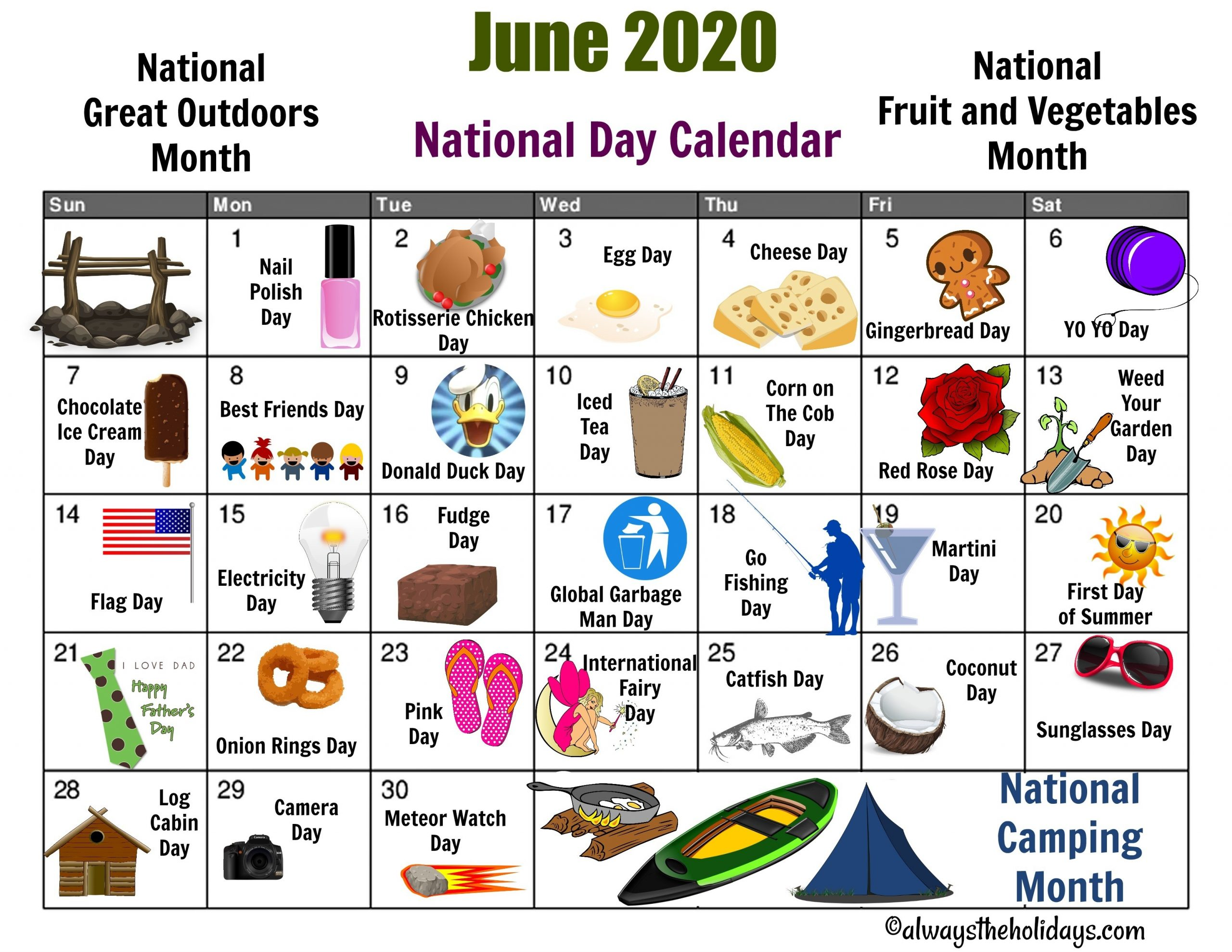 June National Day Calendar Printable - Father'S Day, Camping  Printable Calendar Of National Days 2021