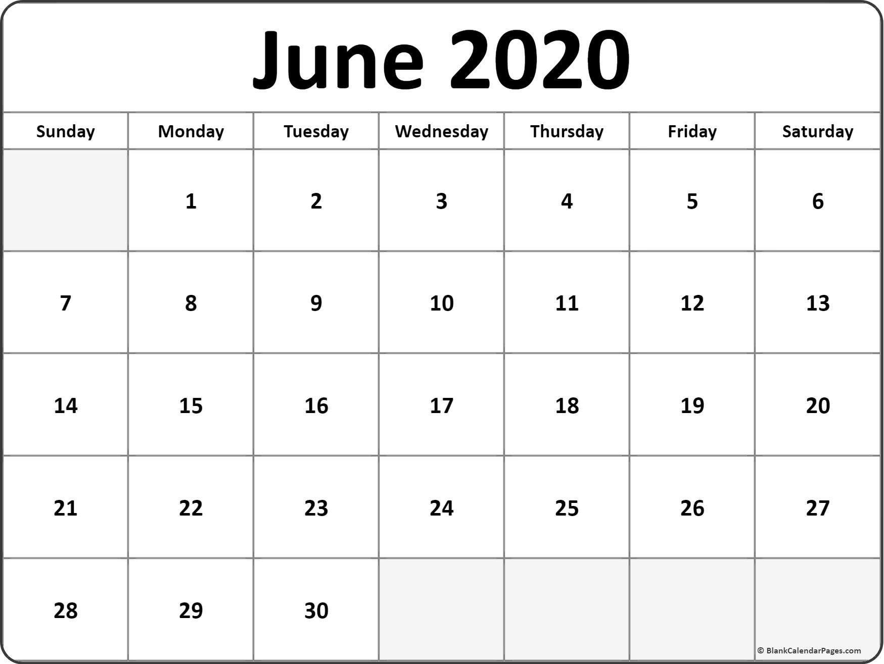 Juner June 2020 Blank Calendar Templates June 2020 Calendar  Blank June Calendar 2020