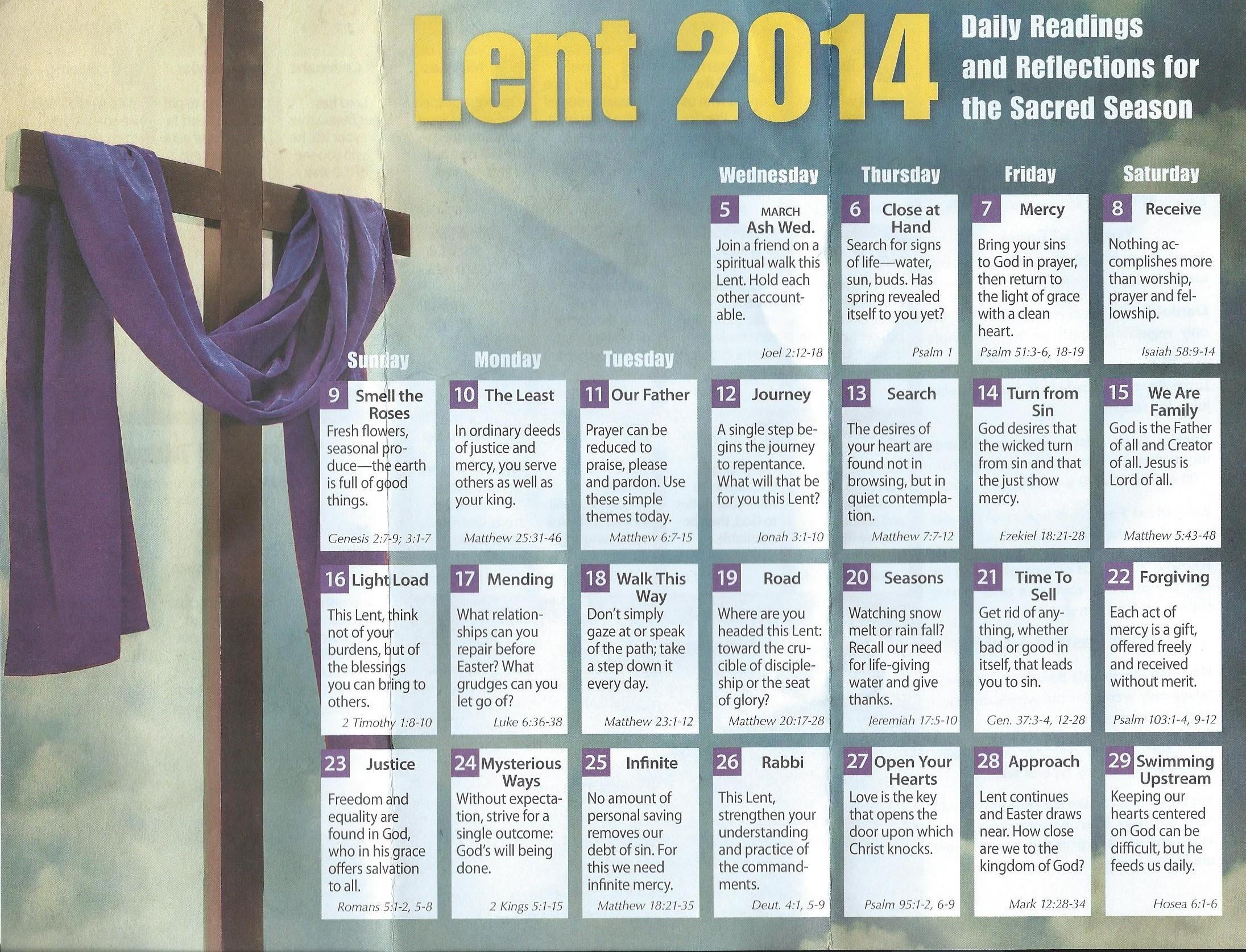 Lent Season Calendar - St. Matthews United Methodist Church  Methodist Lent Calendar