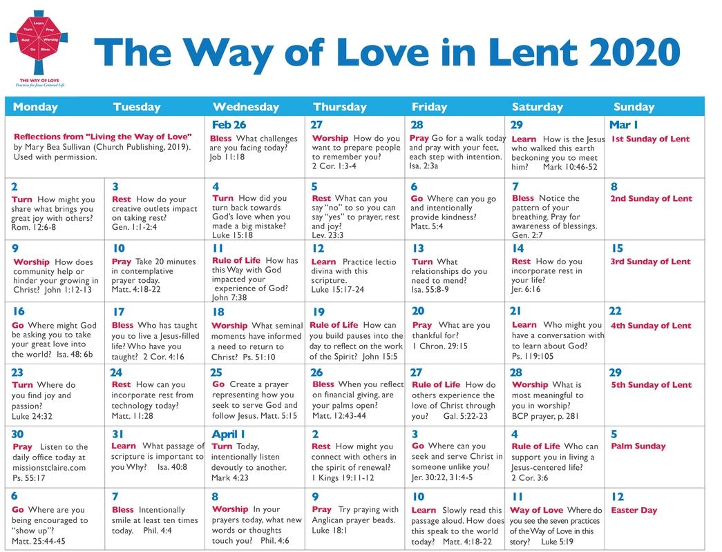 Lenten Resources 2020 - The Episcopal Diocese Of South Carolina  Methodist Lent Calendar
