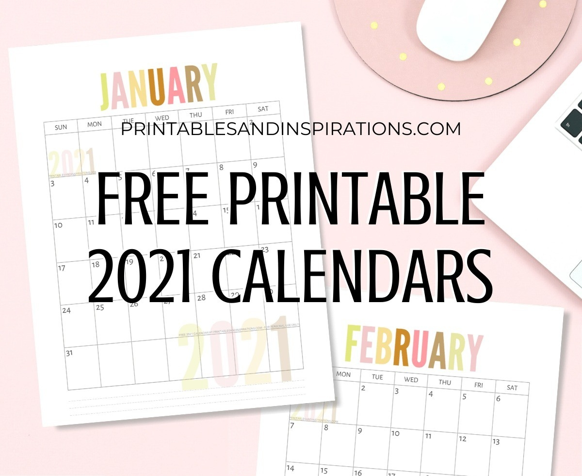 List Of Free Printable 2021 Calendar Pdf - Printables And  Girly Monthly Calendar Printable 2021