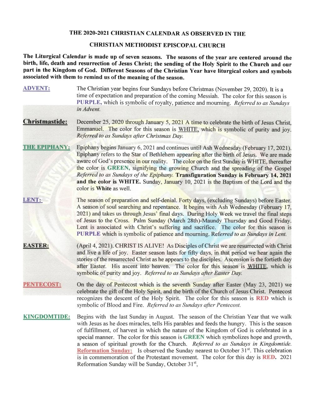 Liturgical Calendar — West End Tabernacle C.m.e. Church  Methodist Liturgical Calendar 2021
