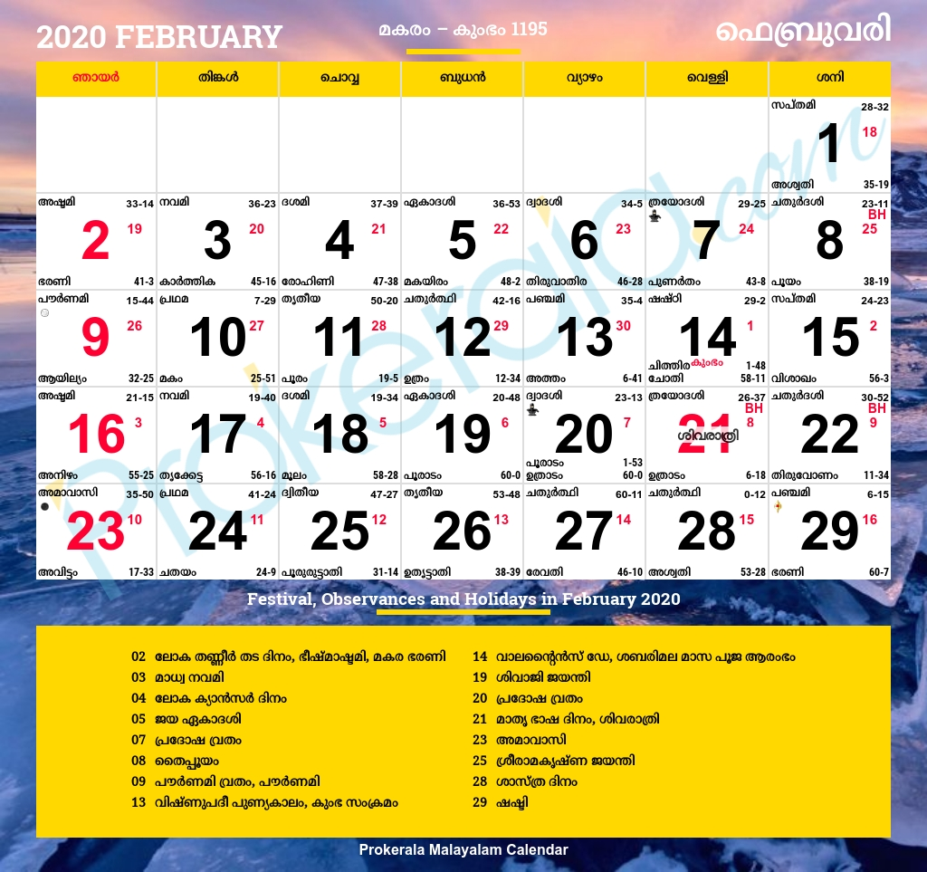 Malayalam Calendar 2020, February  2021 Calendar Malayalam Mathrubhumi February