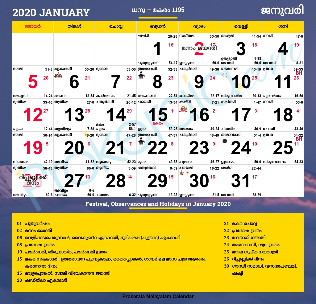 Malayalam Calendar 2020, January  Mathrubhumi Malayalam Calendar 2020