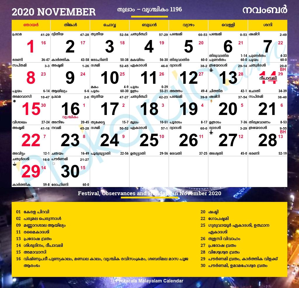 Malayalam Calendar 2020, November  Malayalam Manorama Calander 2020