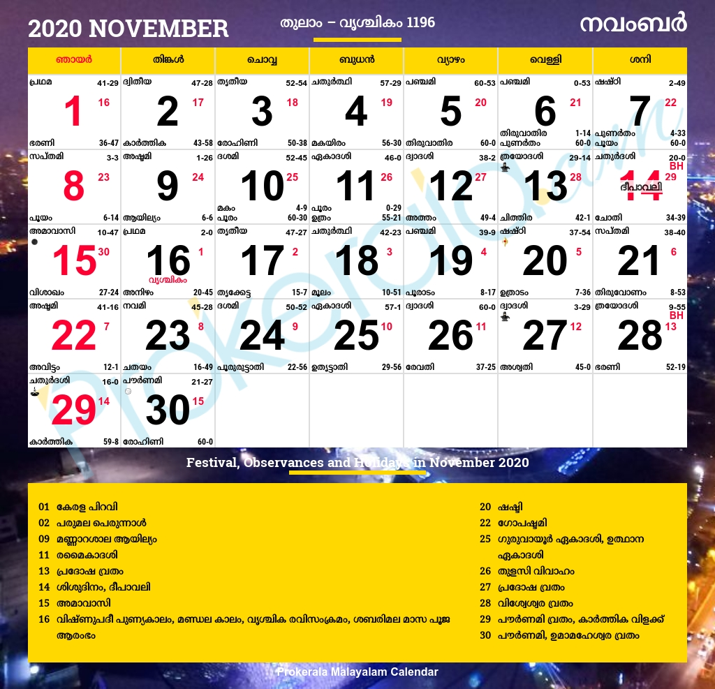 Malayalam Calendar 2020, November  Manorama Calender 2020
