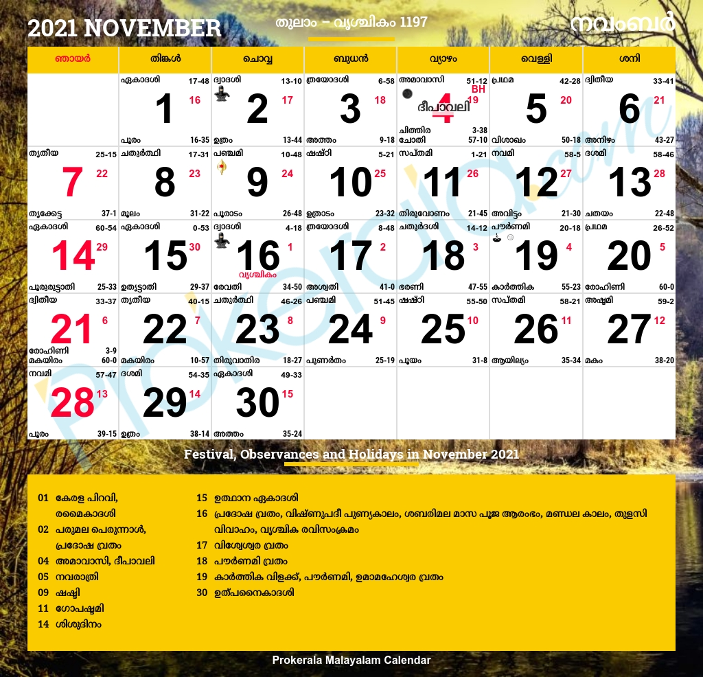 Malayalam Calendar 2021 | Kerala Festivals | Kerala Holidays  2021 Calendar Malayalam Mathrubhumi February