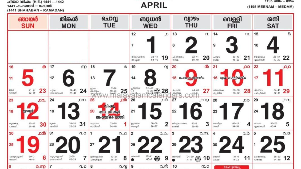 Malayalam Calendar April 2020 – Malayalamcalendars  Mathrubhumi Calender 2021