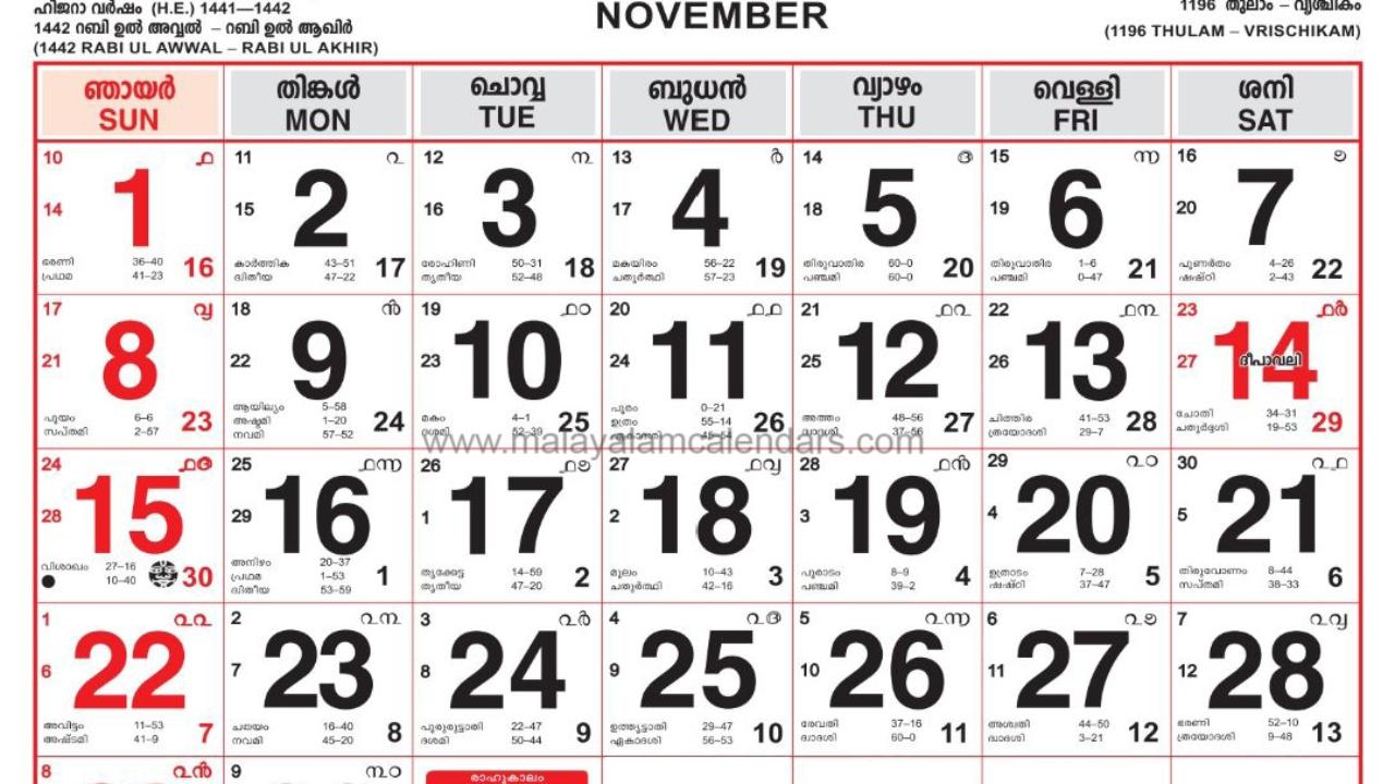 Malayalam Calendar November 2020 – Malayalamcalendars  Malayalam Calander 2020