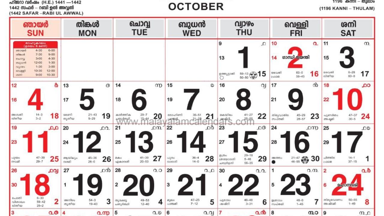 Malayalam Calendar October 2020 – Malayalamcalendars  Malayala Manorama Calender 2020
