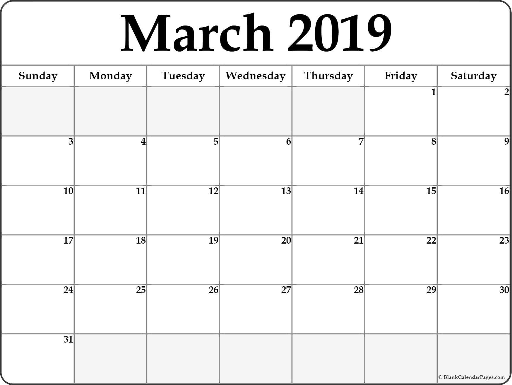 March 2019 Calendar #March #Marchcalendar #March2019Calendar  Free Printable Monthly Calendar March 2021