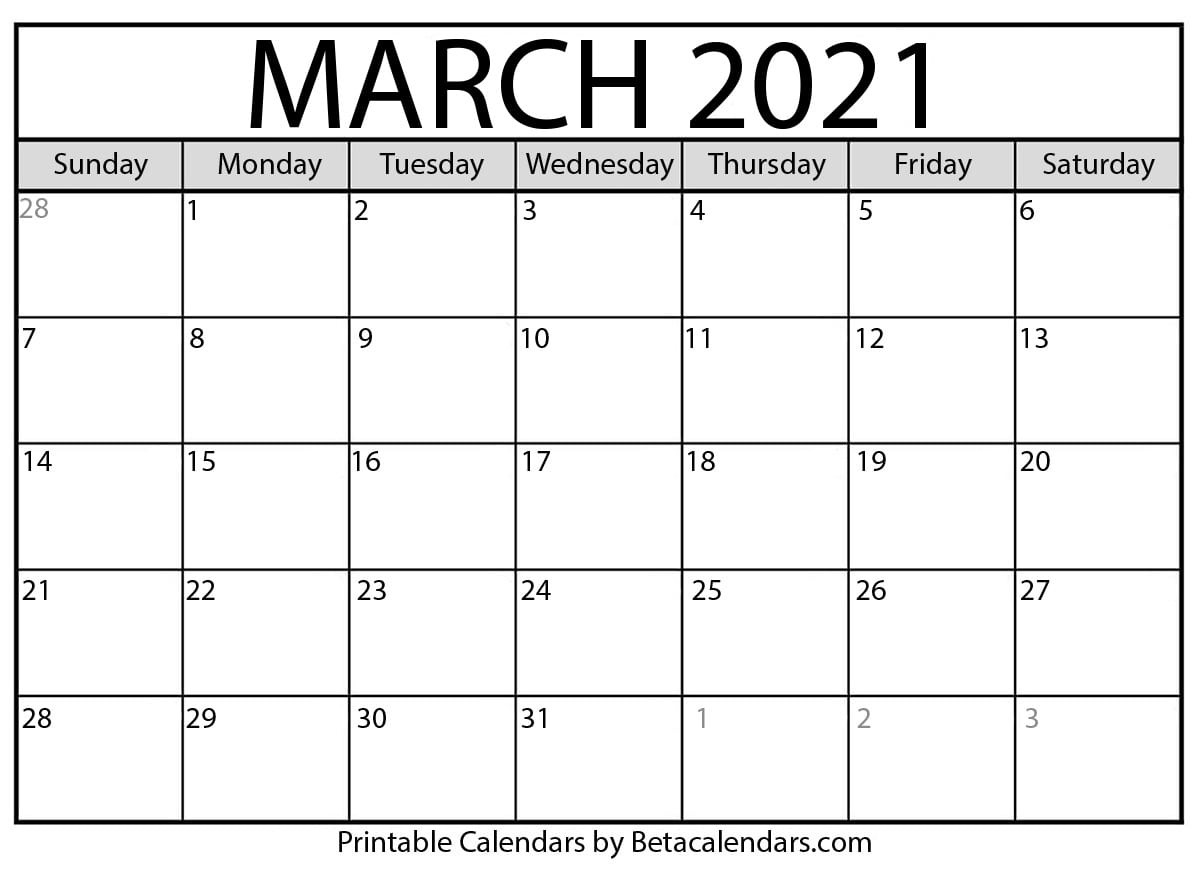 March 2021 Calendar | Blank Printable Monthly Calendars  Free Printable Monthly Calendar March 2021