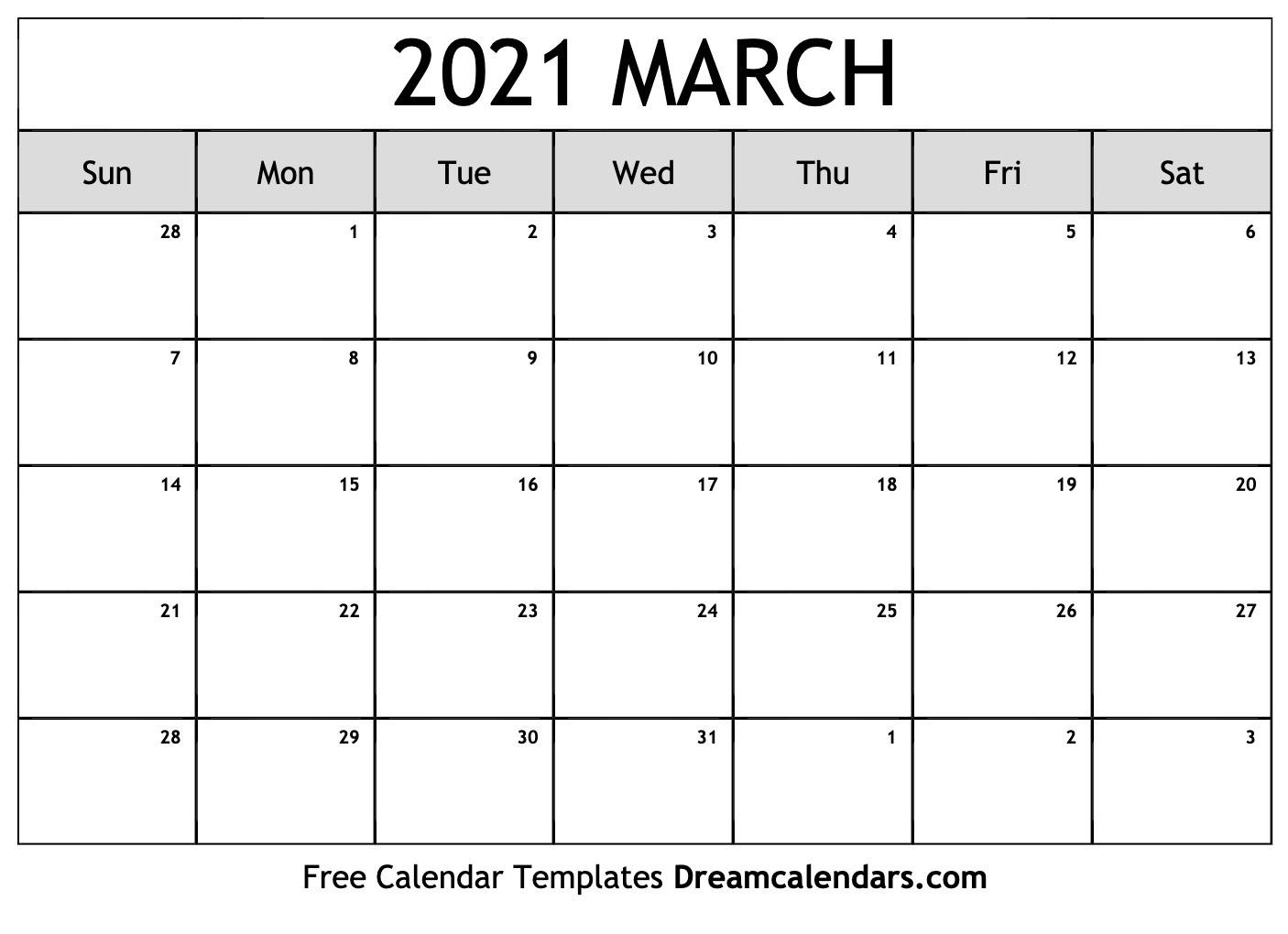 March 2021 Calendar | Free Blank Printable Templates  Free Printable Monthly Calendar March 2021