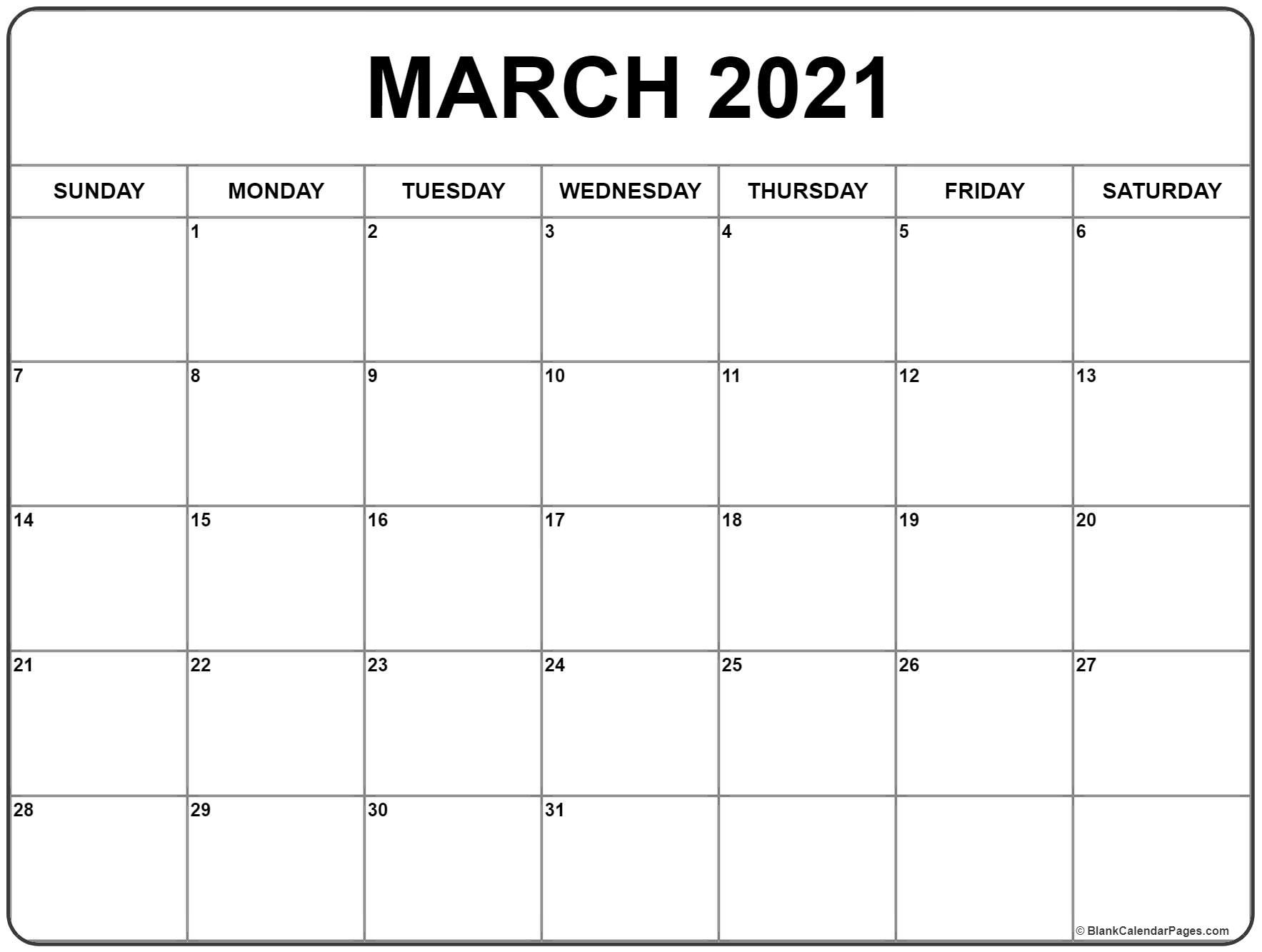 March 2021 Calendar | Free Printable Monthly Calendars  Free Printable Monthly Calendar March 2021