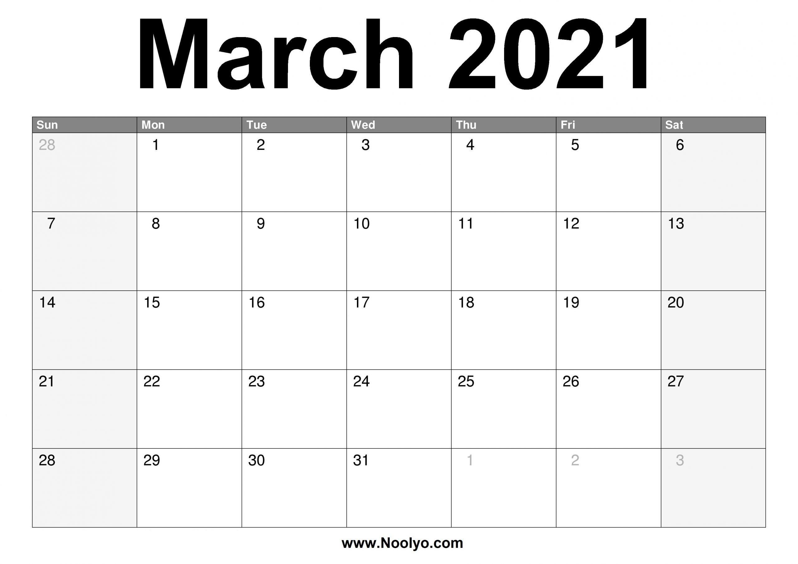March 2021 Calendar Printable – Free Download – Noolyo  Free Monthly Calendar Printable March 2021