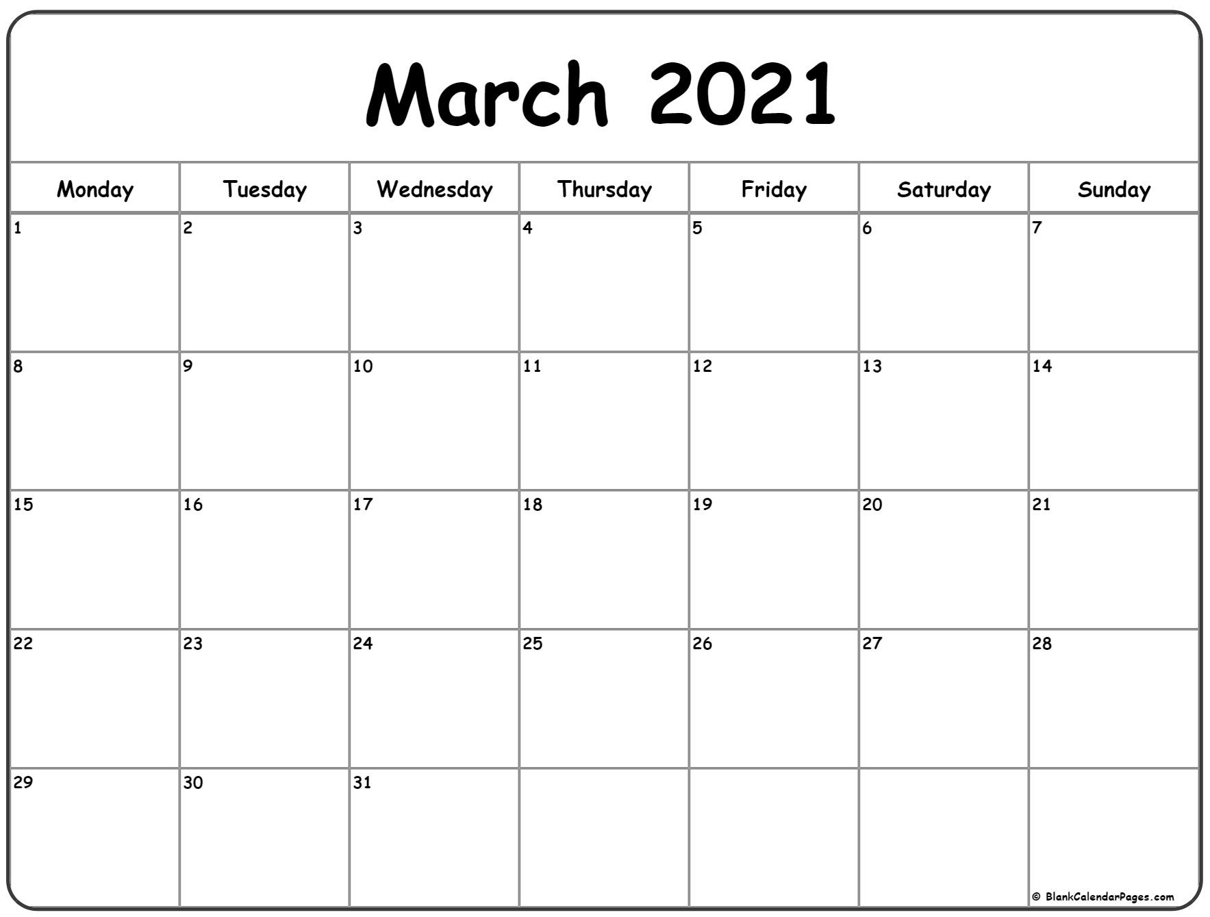 March 2021 Monday Calendar | Monday To Sunday  Free Printable Monthly Calendar March 2021
