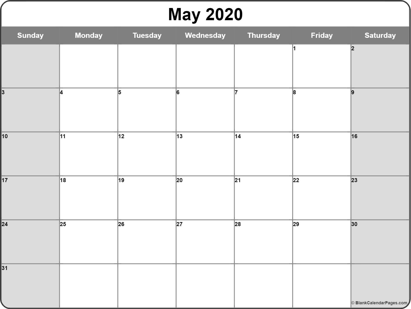 May 2020 Calendar | Free Printable Monthly Calendars  Calendar Month To Month Print
