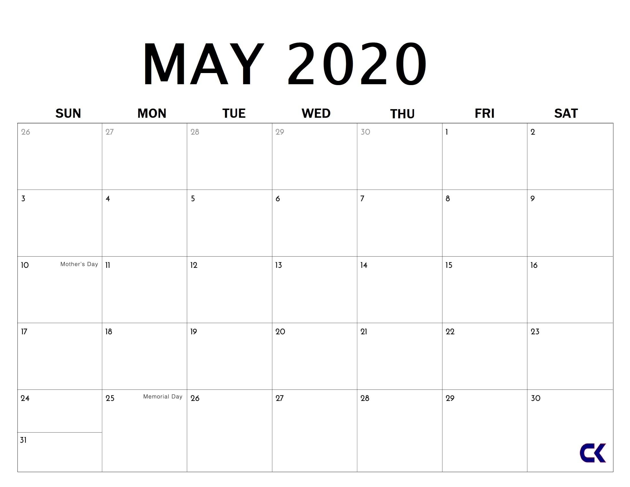 May 2020 Calendar Printable Free Download » Calendarkart  Free Printable Firefighter Editable Calendar