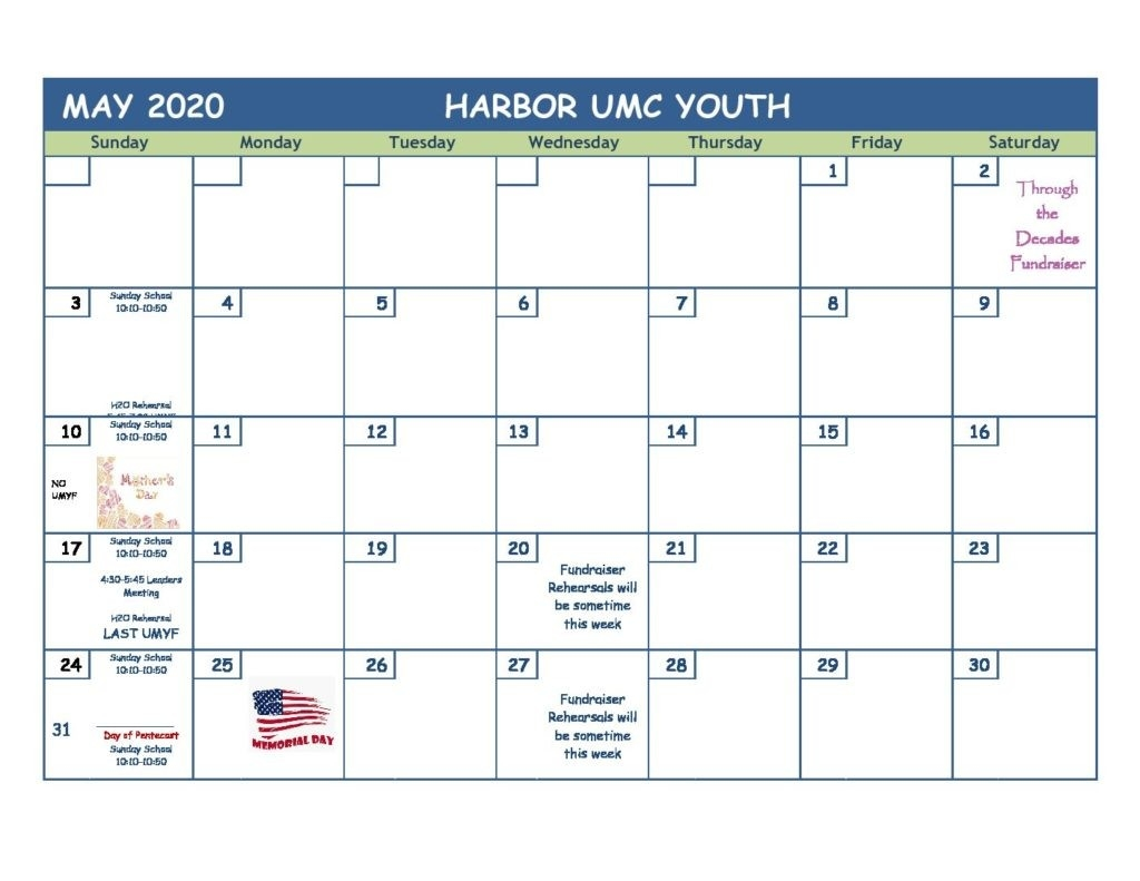 May 2020 Youth Ministry Calendar - Harbor United Methodist  2020 Calendar For United Methodist