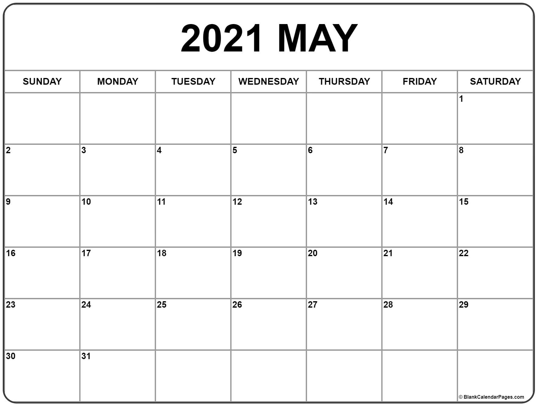 May 2021 Calendar | Free Printable Monthly Calendars  Calendar 2021 Free Printable