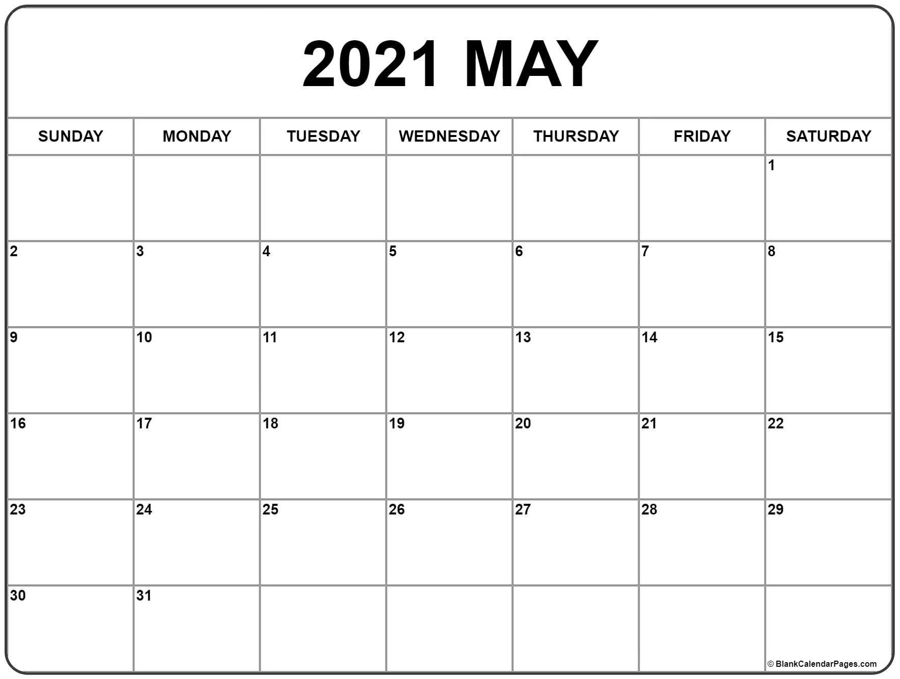 May 2021 Calendar | Free Printable Monthly Calendars  Free Printable 2021 Calendar