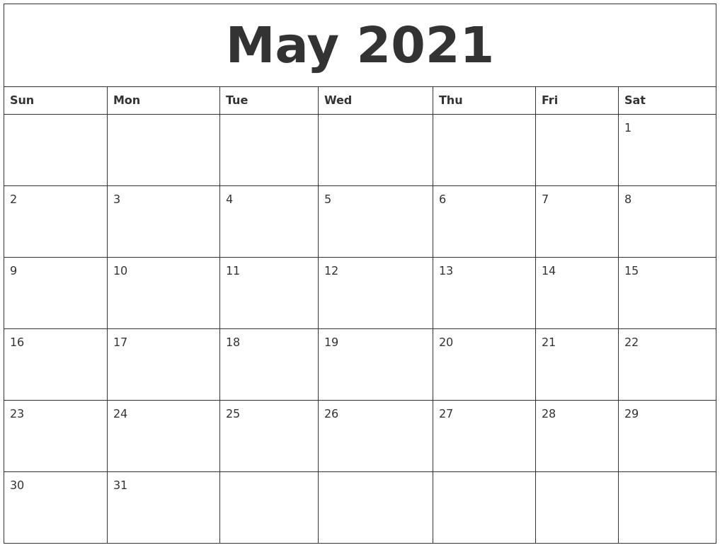 May 2021 Month Calendar Template  Monthly Calendar 2021