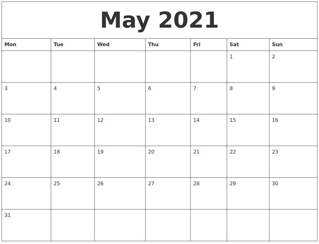 May 2021 Print Online Calendar  Printable Online Calendar 2021