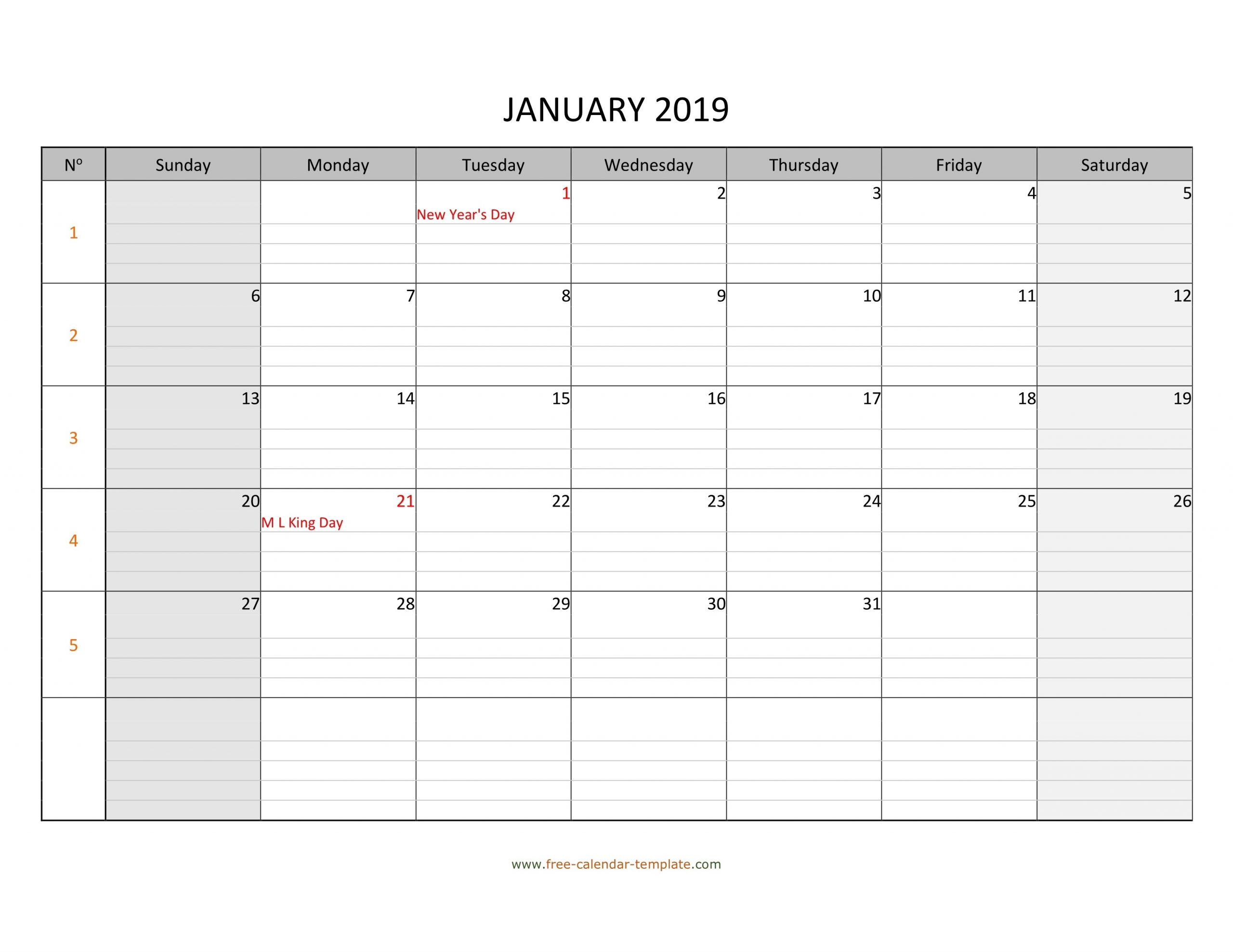 Monthly 2019 Calendar Free Printable With Grid Lines  Printable Calendars With Lines