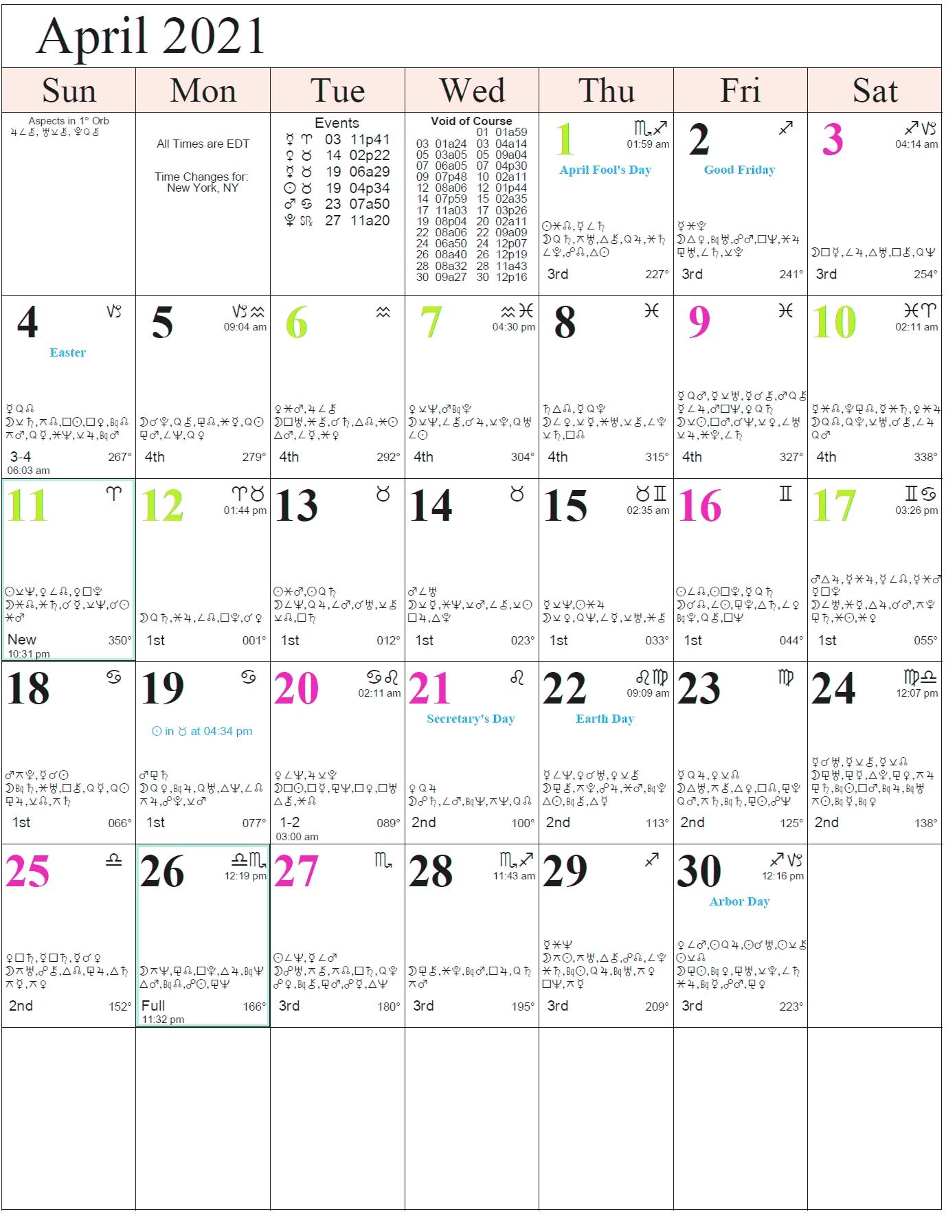 Monthly Astrology Calendars  Solar Calendar 2021
