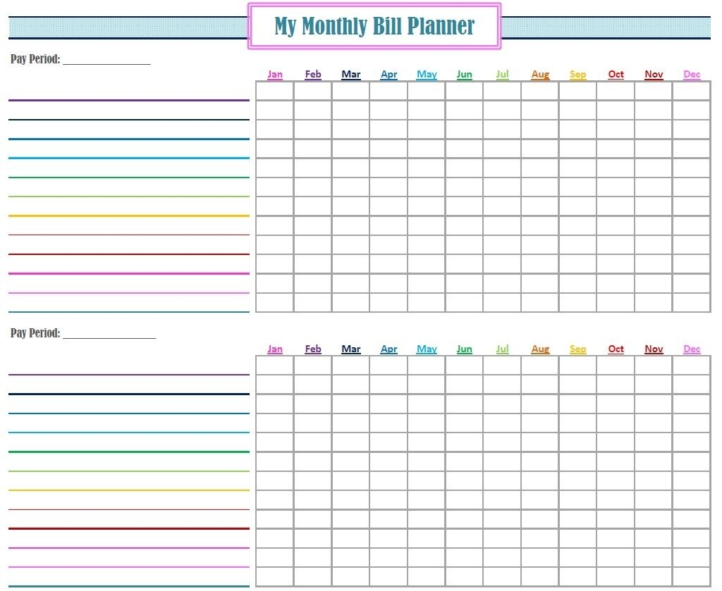 Monthly Bill Log Template Free Printable Monthly Bill  Free Printable Bill Payment Log